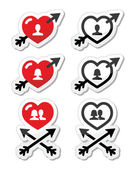 Hearts with arrow, love, valentines icons set — Stock Vector