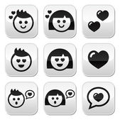 Man and woman in love, Valentine's buttons set — Stock Vector