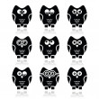 Owl cartoon character vector icons set — Stock Vector #38911491