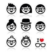 People wearing glasses, geeks icons set — Stock Vector