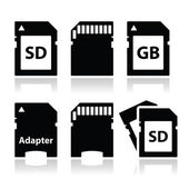 SD, memory card, adapter icons set — Stock Vector