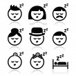 Stock Vector: Sleeping, dreaming people faces icons set