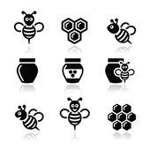 Bijen en honing vector icons set — Stockvector