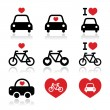 I love cars and bikes icons set — Stock Vector