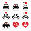 I love cars and bikes icons set — Stock Vector #39438407
