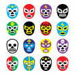 Lucha libre mexican wrestling masks icons — Stock Vector #39623757