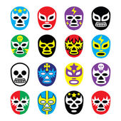 Lucha libre mexican wrestling masks icons — Stock Vector