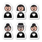 Lidé v lásce, valentýn ikony nastavit — Stock vektor