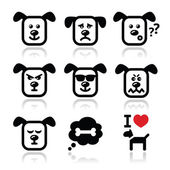 Dog icons set - happy, sad, angry isolated on white — Stockvector