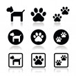 Stock Vector: Dog, paw prints vector icons set