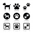 Dog, paw prints vector icons set — Stock Vector #39823173