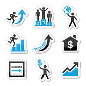 Success in business, self development icons set — Stock Vector