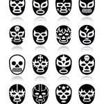 Постер, плакат: Lucha libre mexican wrestling masks icons