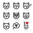 Cat icons set - happy, sad, angry isolated on white — Stock Vector #40143245