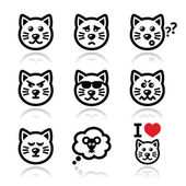 Cat icons set - happy, sad, angry isolated on white — Stock Vector
