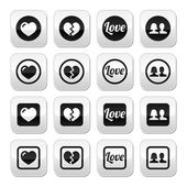 Love, heart, couple buttons for Valentine's day — Stock Vector
