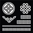 Celtic white knots, braids and patterns on black background — Stock Vector