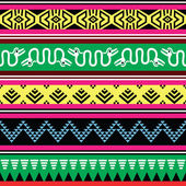 Aztec tribal seamless pattern with monsters in colour — Stock Vector