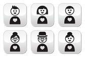 People in love, Valentine's Day buttons set — Stock Vector