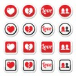 Love, heart, couple icons for Valentine's day — Stock Vector