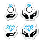 Diamond engagement ring with hands vector icon — Stock Vector