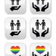Gay and lesbian couples, rainbow flag with hands icons set — Stock Vector