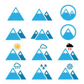 Mountain winter vector icons set — Stock Vector