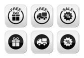 Kostenloses geschenk, lieferung, verkauf tasten set — Stockvektor