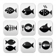 Fish, fish on plate, skeleton vecotor buttons — Stock Vector