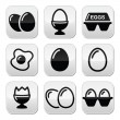 Egg, fried egg, egg box buttons set — Stock Vector