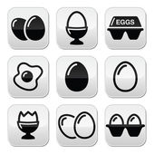 Egg, fried egg, egg box buttons set — Vector de stock