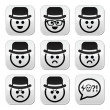 Man in hat faces vector buttons set — Stock Vector