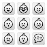 Baby boy faces, avatar vector buttons set — Stock Vector