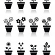 Flower, plant in pot vector icons set — Stock Vector #40848455