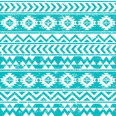 Aztec tribal seamless grunge white pattern on blue background — Stockvector