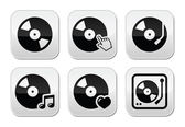 Vinyl record, dj vector buttons set — Stock Vector