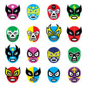 Lucha libre, luchador mexican wrestling masks icons — Stock Vector