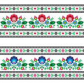 Seamless Polish folk pattern with flowers — Stock Vector