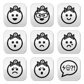 Baby girl faces, avatar vector buttons set — Stock Vector