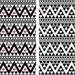 Tribal aztec colorful seamless pattern with heart - two versions — Stok Vektör