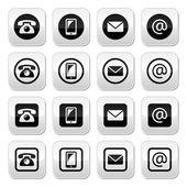 Kontaktujte tlačítka v kruh a čtverec set - mobilní, telefon, e-mail, obálka — Stock vektor