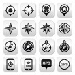 GPS navigation, wind rose, compass buttons set — Stockvector