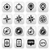 GPS navigation, wind rose, compass buttons set — Stock Vector