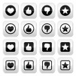 Like thumb up, love, favorite icons set — Stock Vector