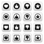Like thumb up, love, favorite icons set — 图库矢量图片