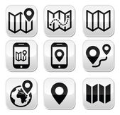 Map travel buttons set — Stock Vector