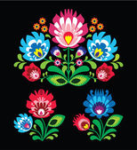 Polish floral folk embroidery pattern on black - wzor lowicki — Stock Vector
