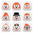People with ginger vector hair buttons set — Stock Vector