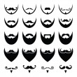 Beard with moustache or mustache vector icons set — Vector de stock
