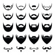 Beard with moustache or mustache vector icons set — Vecteur